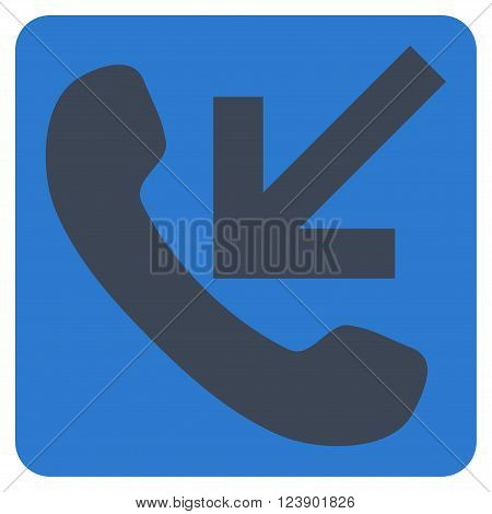 Incoming Call vector pictogram. Image style is bicolor flat incoming call icon symbol drawn on a rounded square with smooth blue colors.