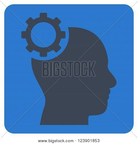 Intellect Gear vector pictogram. Image style is bicolor flat intellect gear pictogram symbol drawn on a rounded square with smooth blue colors.