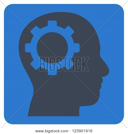 Intellect Gear vector icon. Image style is bicolor flat intellect gear iconic symbol drawn on a rounded square with smooth blue colors.