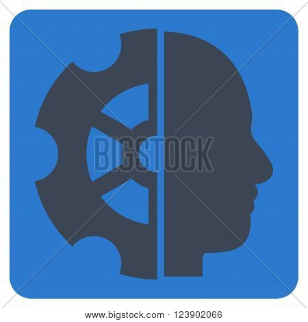 Intellect vector symbol. Image style is bicolor flat intellect pictogram symbol drawn on a rounded square with smooth blue colors.