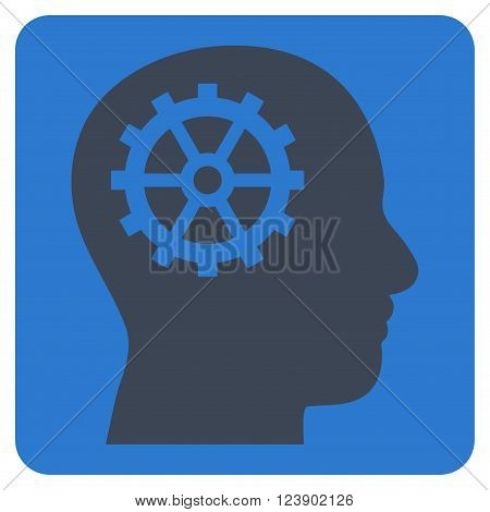 Intellect vector icon. Image style is bicolor flat intellect pictogram symbol drawn on a rounded square with smooth blue colors.