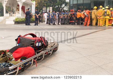 Paramedic And Stretcher Gurney In Mock Disaster Drill