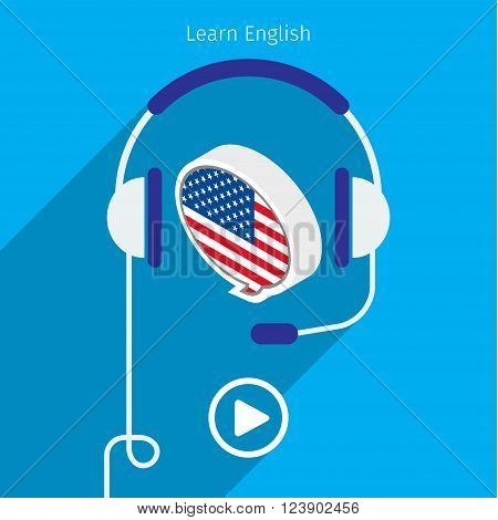 Concept of audio english book or studying English. Headphones with speech bubble, vector illustration, flat design.