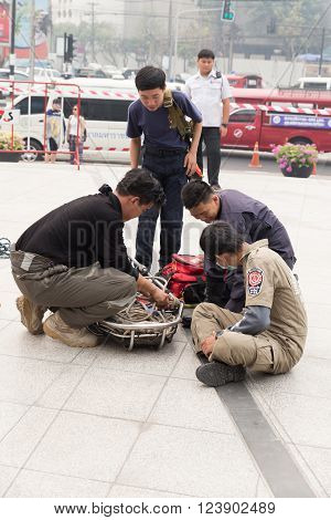 CHIANG MAI, THAILAND - MARCH 25: Paramedic in mock disaster drill at Maya shopping center in Chiang Mai, Thailand on March 25, 2016.