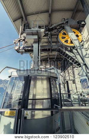 Malcesine, Italy - January 18 2016: Detail of the mechanisms that allow the operation of a cableway respecting the safety rules.
