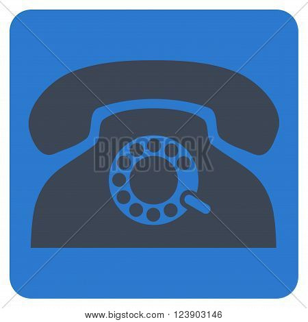 Pulse Phone vector icon symbol. Image style is bicolor flat pulse phone icon symbol drawn on a rounded square with smooth blue colors.