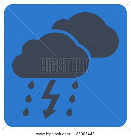 Thunderstorm vector pictogram. Image style is bicolor flat thunderstorm pictogram symbol drawn on a rounded square with smooth blue colors.