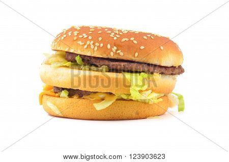 Double Beef Burger isolated on white background