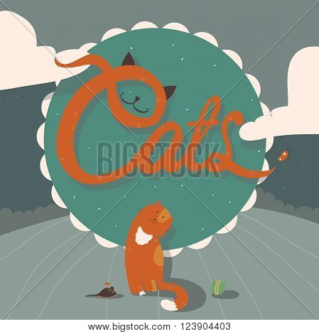 Vector illustration of cute funky ginger cat sitting near large word Cats outdoors on the hill. Lettering is made with ears and nose of the kitten. Square design green and blue color background.