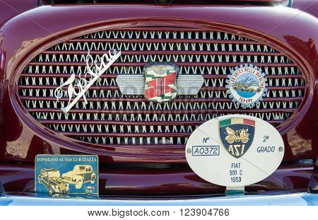 VERONA ITALY - SEPTEMBER 27: Topolino car. Topolino Autoclub Italia organizes a gathering on Lake Garda Sunday September 27 2014. Cars and enthusiasts from all over Italy.