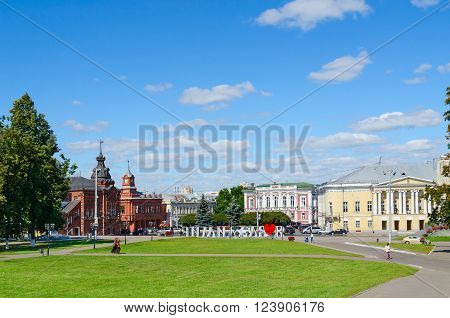 VLADIMIR RUSSIA - AUGUST 21 2015: Unidentified people walk on the Cathedral Square Vladimir Golden Ring of Russia