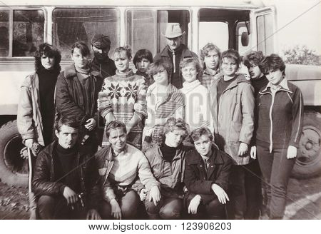 VITEBSK BELARUS - SEPTEMBER 1988: Students of Vitebsk Medical Institute on seasonal agricultural work in a collective farm group photo (1988)