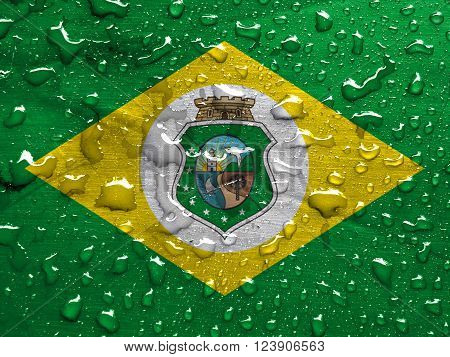 State of Ceara flag with rain drops, 3d