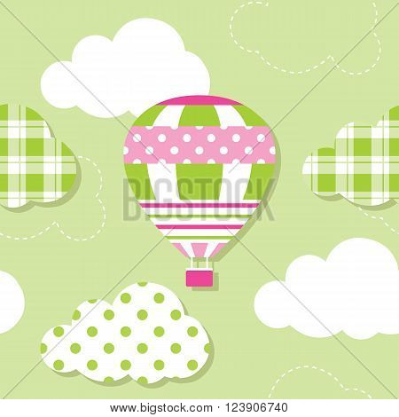 illustration of colorful hot air balloon and patterned clouds on green background