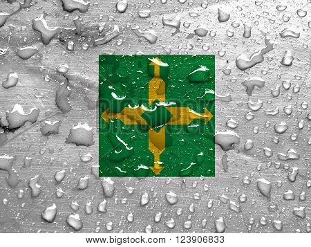 the Federal District flag with rain drops, 3d