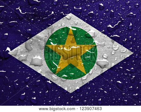 State of Mato Grosso flag with rain drops