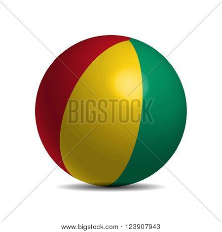 Guinea flag on a 3d ball, vector illustration