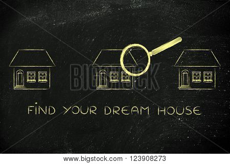 Magnifying Glass Analyzing A Group Of Houses, Find Your Dream House