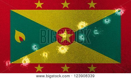 Flag of Grenada with glass bullet holes