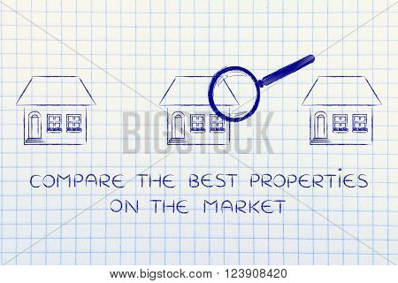 compare the best properties on the market: houses analyzed by magnifying glass