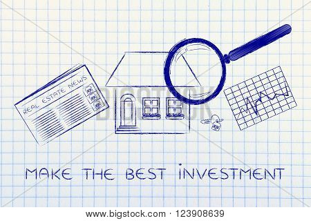 House, News & Stats With Magnifying Glass; Make The Best Investment