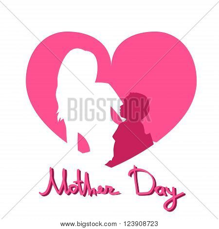 Mother Day, Silhouette Woman Sit Embracing Child, Family Love Greeting Card Heart Shape Background Flat Vector Illustration