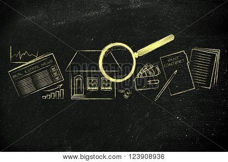 house, stats, real estate newspaper and contract with magnifying glass