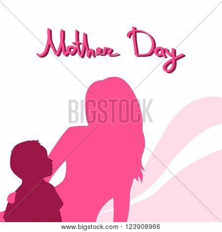 Mother Day, Silhouette Woman Sit Embracing Child, Family Love Greeting Card, Abstract Background Flat Vector Illustration