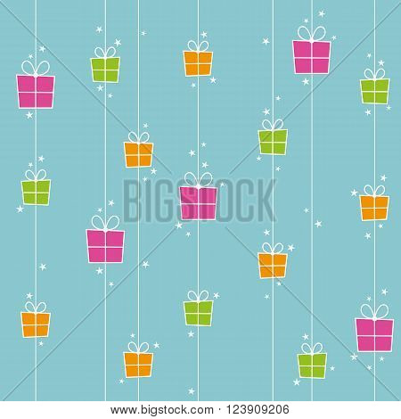 Seamless background with orange pink and green gift boxes and stars.