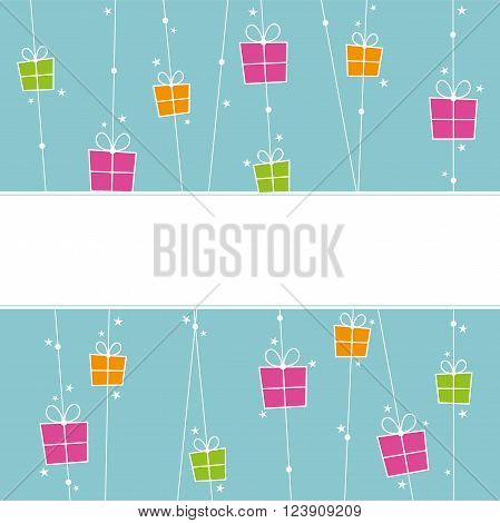 Background with orange pink and green gift boxes and space for text.