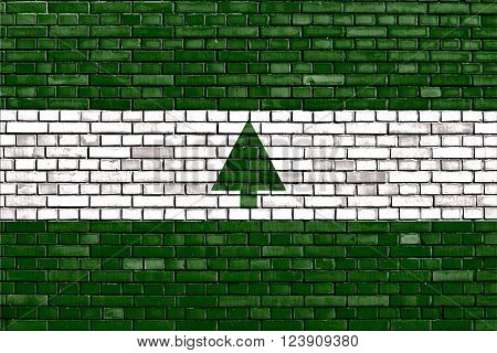 flag of Greenbelt painted on brick wall