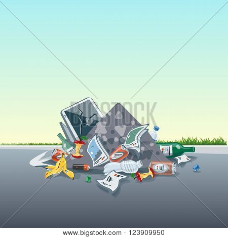 Vector illustration of littering waste pile that have been disposed improperly without consent at an inappropriate location around on the street exterior. Trash is fallen on the ground and creates a big stack.