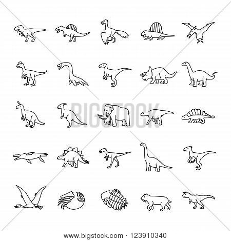Prehistoric animals like dinosaur outlines vector icons