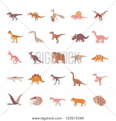 Prehistoric Animals like dinosaurs color vector icons collection