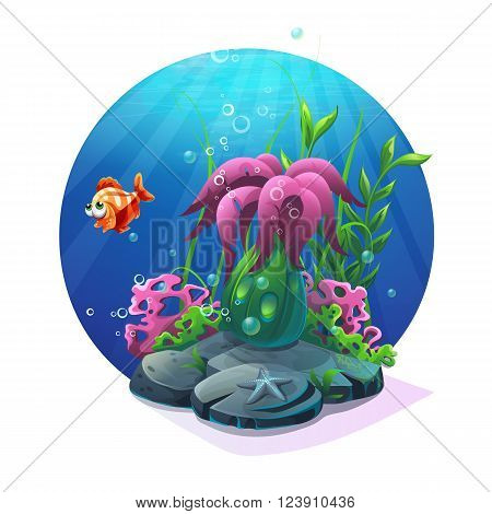 Undersea world. Marine life on the sandy bottom of the ocean. For design websites and mobile phones printing.