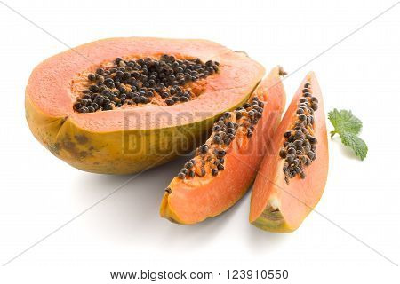 Fresh and tasty papaya on white background.