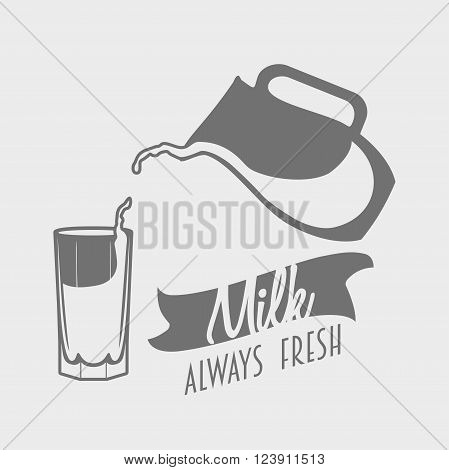 Vector Logo, Badge Or Label Template For Natural Dairy Products. Jug With Milk
