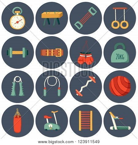 Set of cartoon gym icons. Sport healthy life concept. Fitness equipment design
