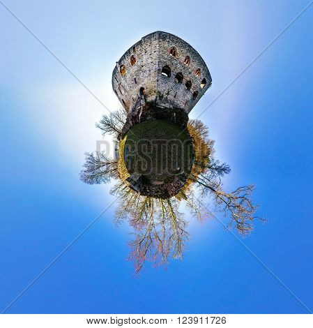 Medieval Castle Spesbourg Little Planet  Spherical Panorama