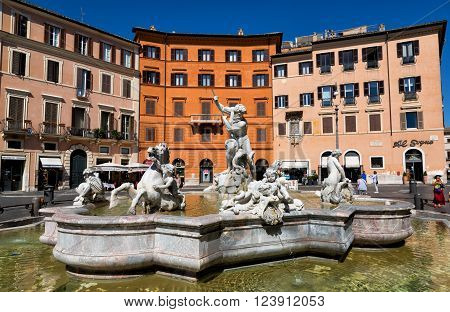 ROME ITALY - SEPTEMBER 22 2015: Piazza Navona Neptune Fountain. Piazza Navona is a popular destination in Rome the 3rd most visited city in European Union