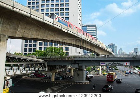 Bangkok Thailand - March 12 2016: The Bangkok Mass Transit System (BTS). This is the best and the most convenient way to travel in Bangkok. Thai - Japanese Bridge.
