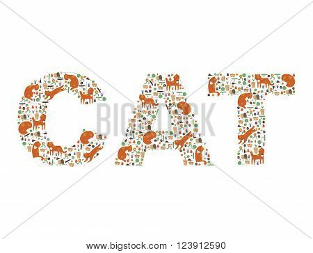 Large word Cat made with ginger kittens collars cat toys mouses broken and normal flowers animal food and medals. Bright funky and kind image isolated on white vector.
