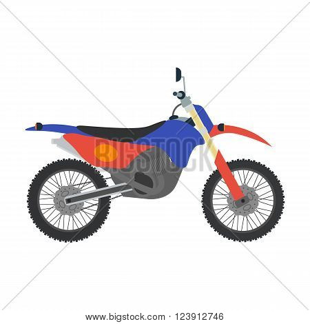 Vector motocross bike illustration. Bike isolated on white background. Cross bike, sport bike vector. Motorbike moto bike illustration. Motocross bike isolated vector