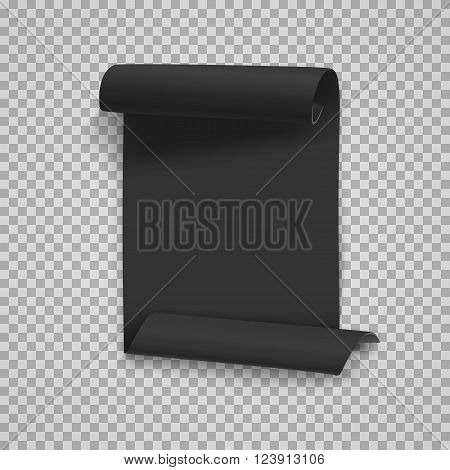 Illustration of Vector Folded Black Paper Sheet Template. Realistic Vector EPS10 Rolled Page Document Isolated on Transparent   Style Background