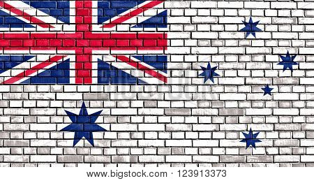 The Australian White Ensign flag painted on brick wall ** Note: Visible grain at 100%, best at smaller sizes