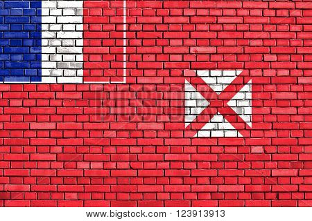 flag of Wallis and Futuna painted on brick wall