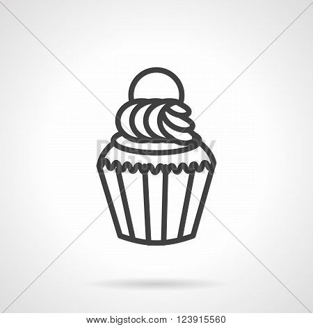 Desserts menu. Cupcake or muffin with cream. Sweets for cafe, restaurant, party. Calorie food. Simple black line vector icon. Single element for web design, mobile app.