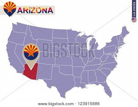 Arizona State On Usa Map. Arizona Flag And Map.