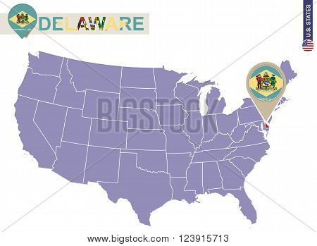 Delaware State On Usa Map. Delaware Flag And Map.