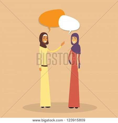 Two Arab Woman Muslim Chat Bubble, Discussion Communication Concept Flat Vector Illustration